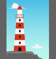 striped sea lighthouse on seacoast flat cartoon vector image vector image