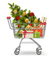 supermarket cart with christmas tree vector image vector image
