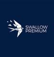 swallow bird geometric polygonal tech logo icon vector image