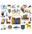 symbols sweden in vintage style retro sketch vector image vector image