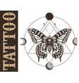 tattoo studio banner with butterfly geometrymoon vector image vector image