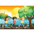 Three kids running at the port vector image vector image