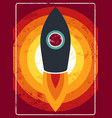 typographic vintage rocket on space poster design vector image