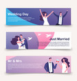 wedding banners template with cartoon vector image vector image