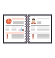 wired notebook with business information icon vector image vector image