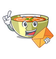 with envelope cartoon lentil soup ready to served vector image vector image