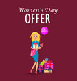 woman with purchases on womens day offer card vector image vector image