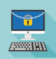 lock and chain on desktop and keyboard vector image