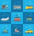 Travel vehicles set flat design vector image