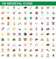 100 medieval icons set cartoon style vector image