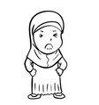 hand drawing frustrated muslim girl - vector image