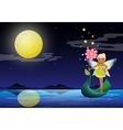 A fairy holding a flower above a boat vector image vector image