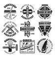 barbershop monochrome emblems badges or labels vector image vector image
