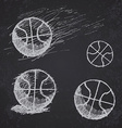 Basketball ball sketch set on blackboard vector image
