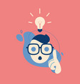 big idea concept with man and lightbulb lamp vector image vector image