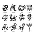 black and white zodiac signs set vector image vector image