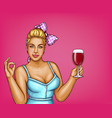 blonde overweight woman holds glass of wine vector image vector image