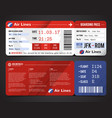 boarding pass design composition vector image vector image
