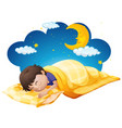 boy in yellow bed at night time vector image