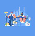 brigade painters with buckets and rollers vector image