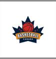 canadian maple basketball logo design vector image vector image
