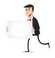 cartoon white businessman running with blank sign vector image vector image