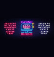 casino online neon sign casino design vector image vector image