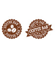coffee bar stamp seals with grunge texture in vector image vector image