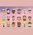 collection face character muslim people of vector image