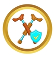 Crossed crutches and sky blue shield icon vector image vector image