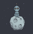 cute robot on moon vector image