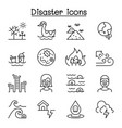 disaster pollution icon set in thin line style vector image