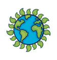 earth planet with ecological leaves design vector image vector image