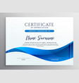 elegant blue qualification certificate design vector image vector image