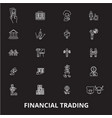 financial trading editable line icons set vector image vector image
