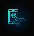 finger touching qr code in smartphone blue vector image