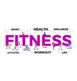 fitness lettering title vector image