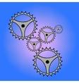 Gears mechanism pop art vector image