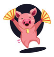 happy pig celebrating chinese new year on white vector image vector image