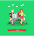 hiking tourists in flat style vector image vector image