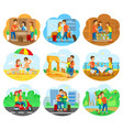 journey set for travel agency promo vector image vector image