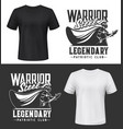 knight warrior with sword and shield t-shirt print vector image vector image