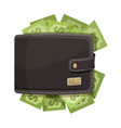 leather wallet icon full money emblem vector image vector image