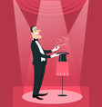 magician man doing a trick with magic wand and vector image vector image