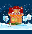 man going near building snowy weather vector image vector image