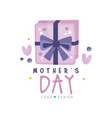mothers day logo design creative label with gift vector image vector image