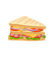 multi-layered sandwich with fresh vegetables ham vector image