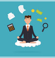 office worker meditating sitting in lotus pose vector image vector image
