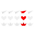 origami paper plane boat ship heart icon set gray vector image vector image