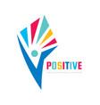 positive - logo template concept vector image vector image